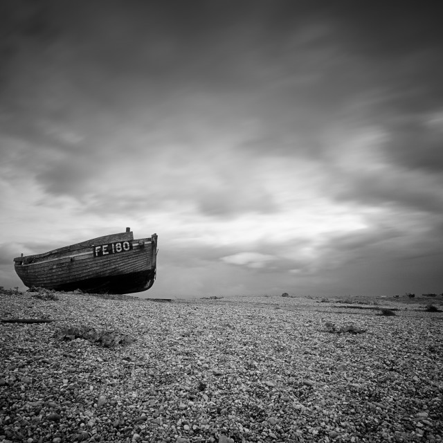 """Abandoned at Dungeness"" stock image"