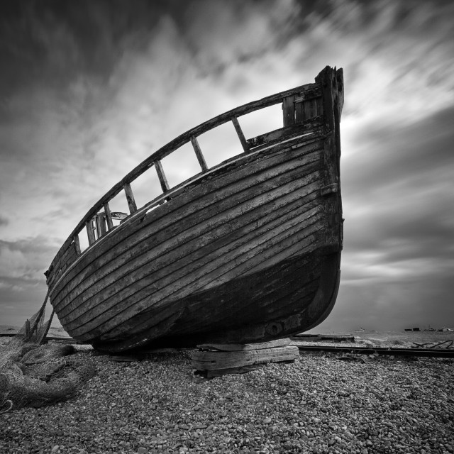 """Beached at Dungeness"" stock image"