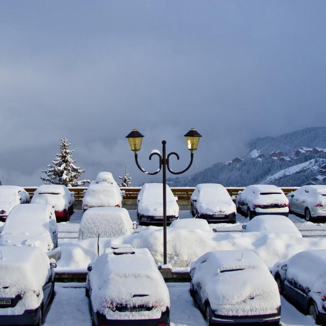 """""""Snowy Car Park"""" stock image"""