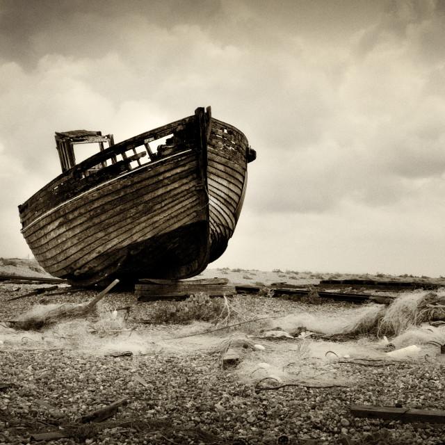 """Dungeness, Abandoned Boat"" stock image"