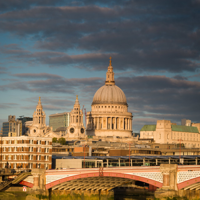 """St. Paul's Cathedral and Thames boat"" stock image"