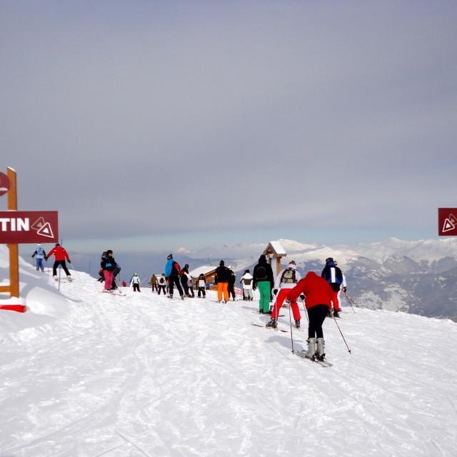 """Trois Vallées skiing"" stock image"