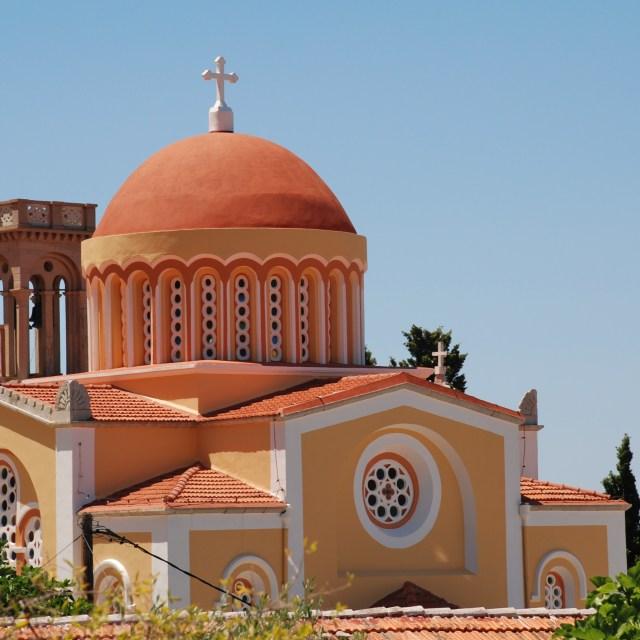 """Domed church, Symi"" stock image"