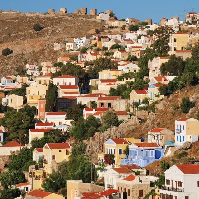 """Yialos village, Symi"" stock image"