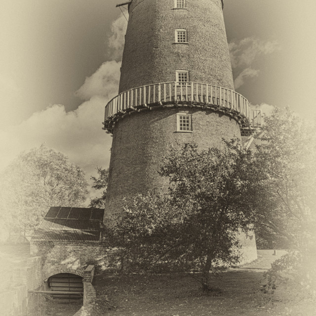 """Portrait of Little Cressingham Water mill in Sepia"" stock image"