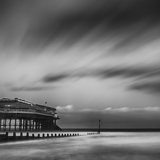 """Cromer pier in Black and White"" stock image"