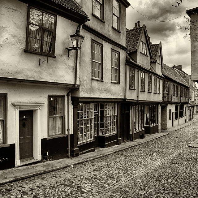 """Elm hill in Norwich in Sepia"" stock image"