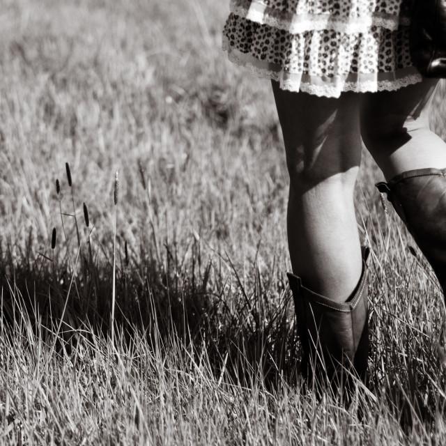 """""""Walking in field"""" stock image"""