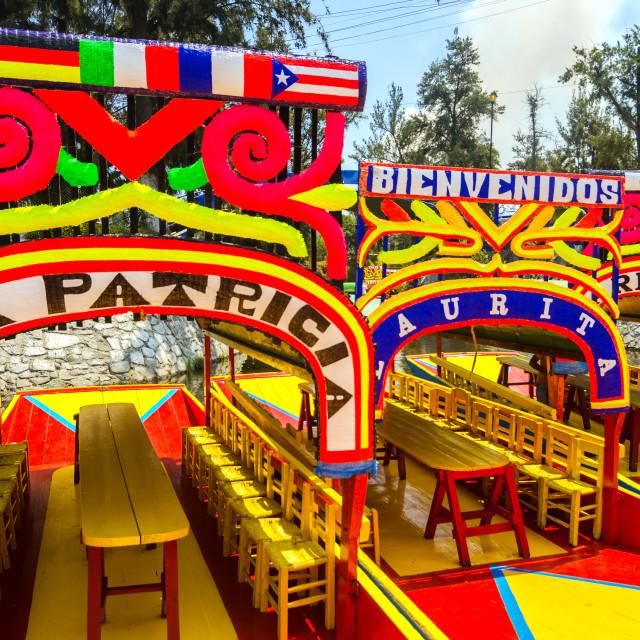 """Boats in Xochimilco"" stock image"
