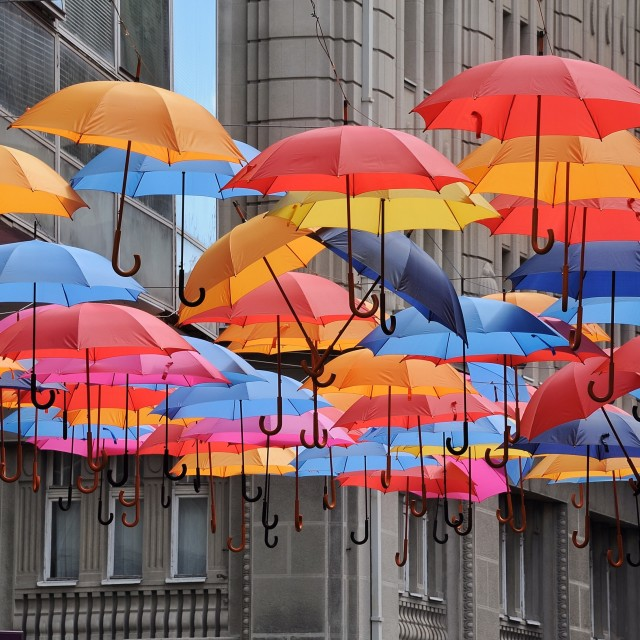 """Rainbow brollies 1"" stock image"