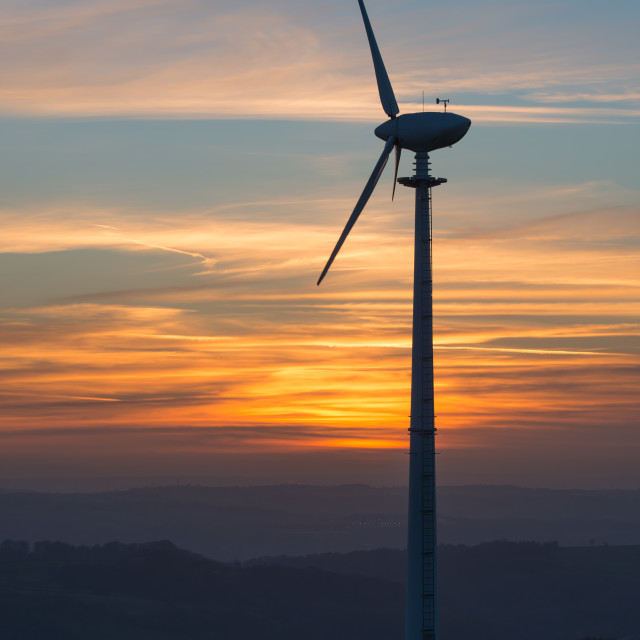 """wind turbine at sunset"" stock image"