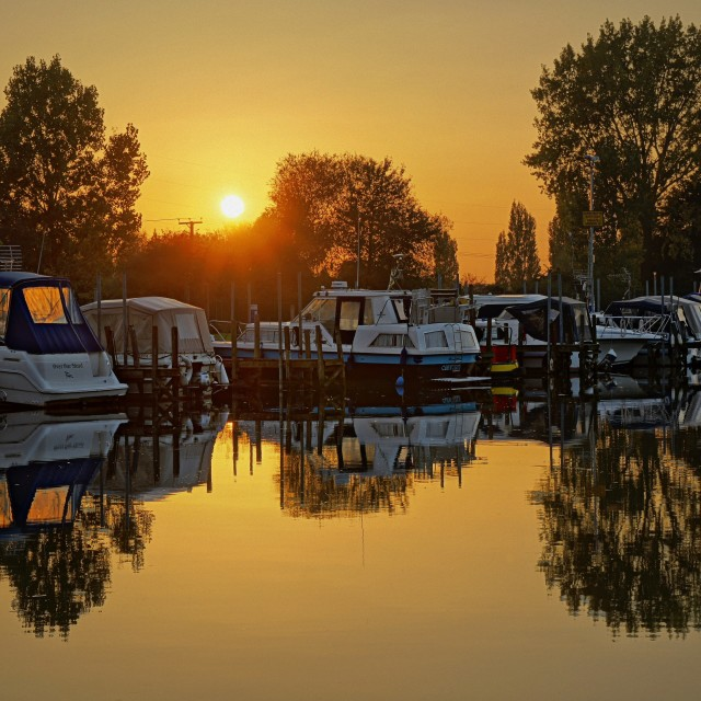 """Sunset at Sawley Marina"" stock image"