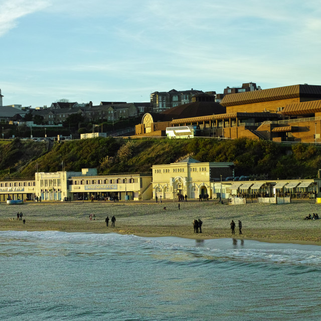 """Westcliffe Bournemouth shot from the pier in low winter sun."" stock image"