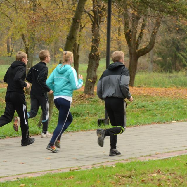 """Runners in Lutsk, Ukraine"" stock image"