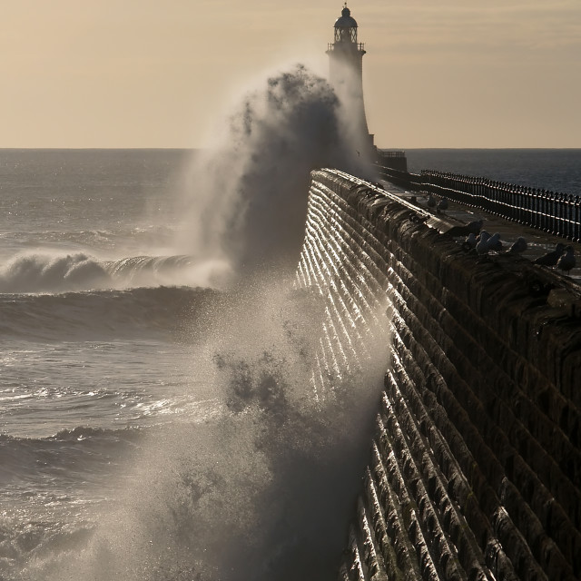 """High Waves at Tynemouth"" stock image"