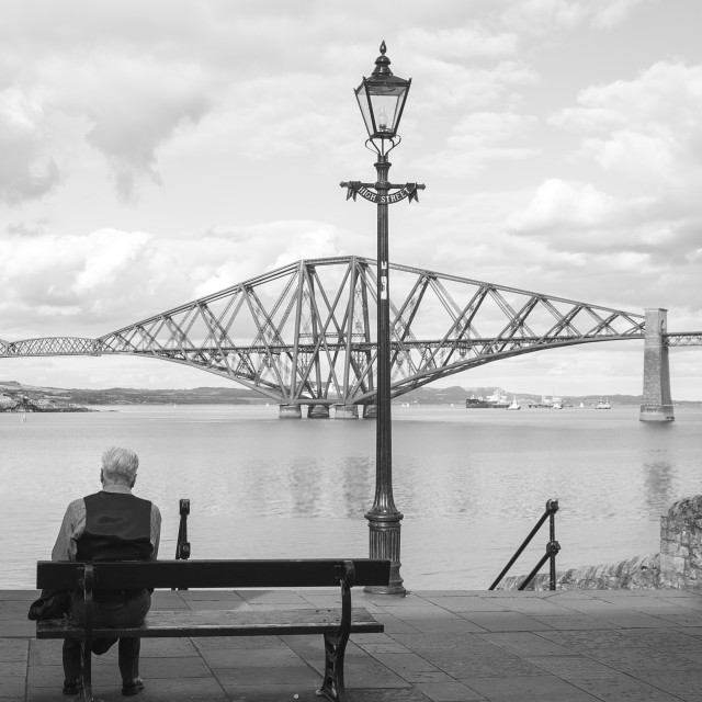 """Looking onto Forth rail bridge"" stock image"