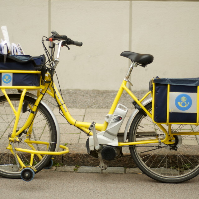 """Swedish Post Bike"" stock image"