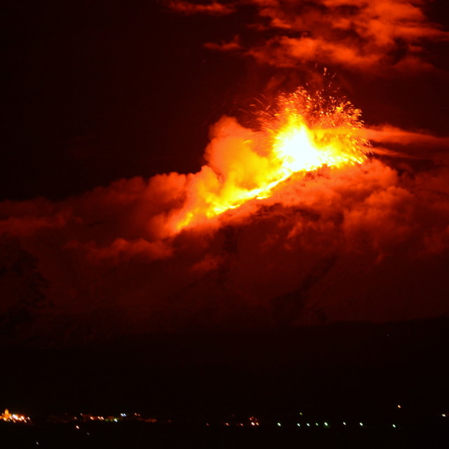"""Mount Etna Eruption 2 December 2013"" stock image"