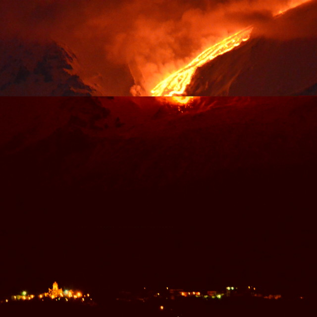 """Lava Flow Over the Town"" stock image"
