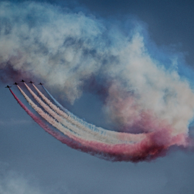 """Red Arrows Smoke"" stock image"