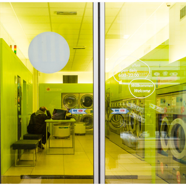 """""""Lonely at the launderette"""" stock image"""