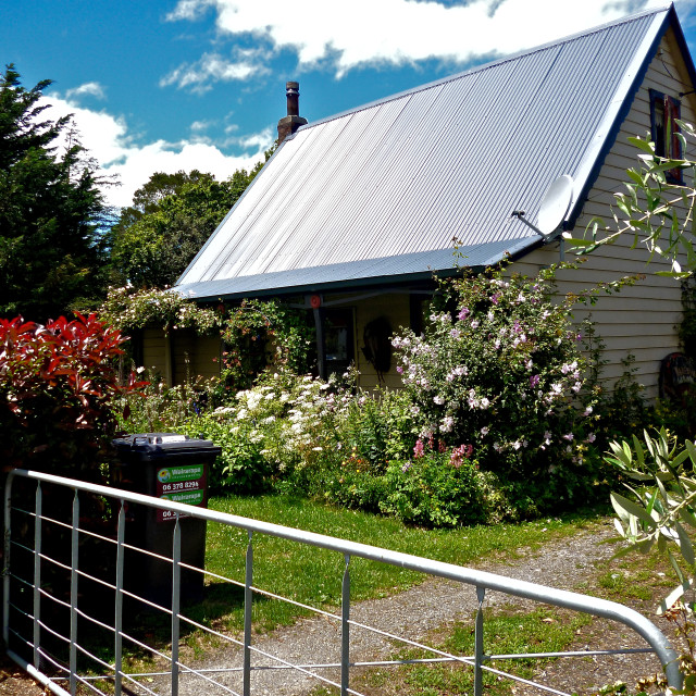 """NZ Country Cottage"" stock image"