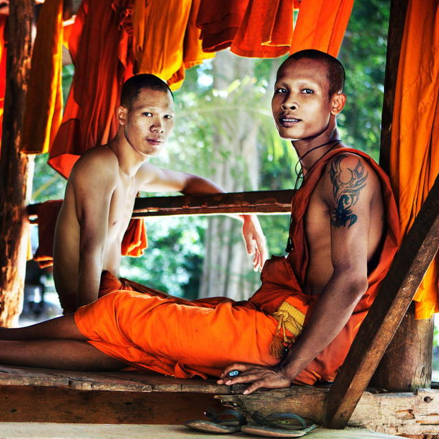"""""""Monks Relaxing"""" stock image"""