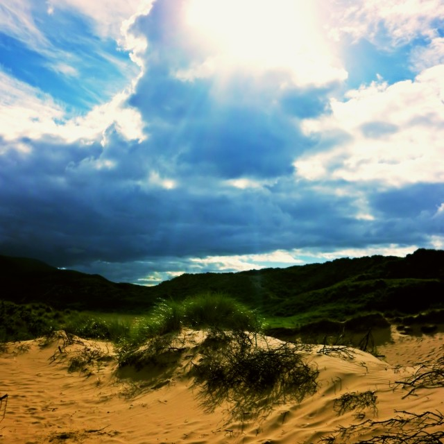 """Dundrum Bay Sand Dune"" stock image"