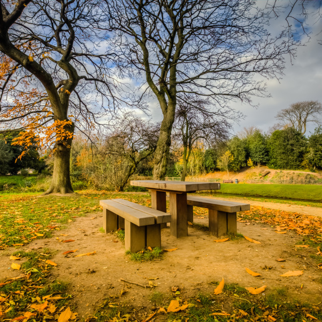 """Victoria Park Bench"" stock image"