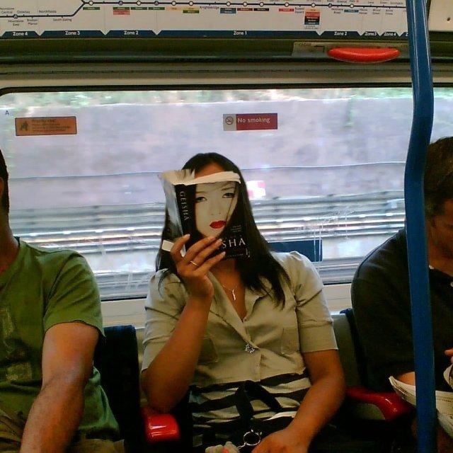 """""""Geisha on the tube"""" stock image"""