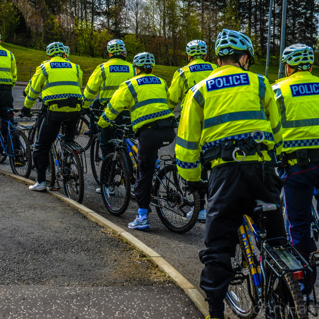 """""""Police Cycling School"""" stock image"""