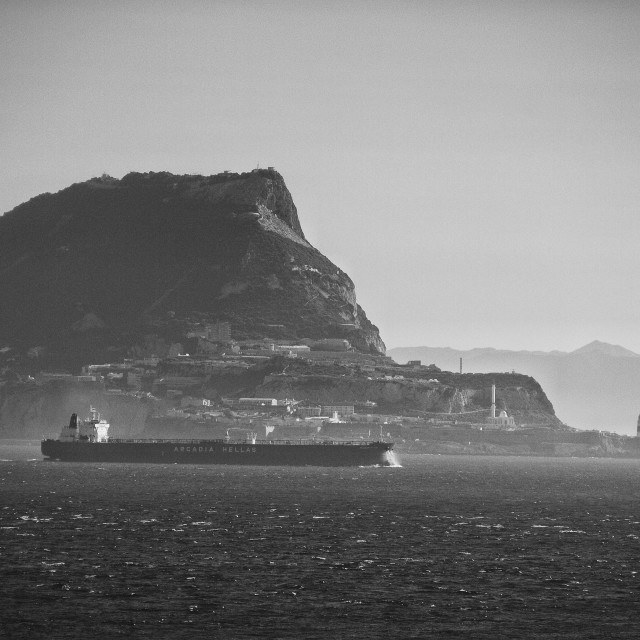 """Sailing out of Gibraltar"" stock image"