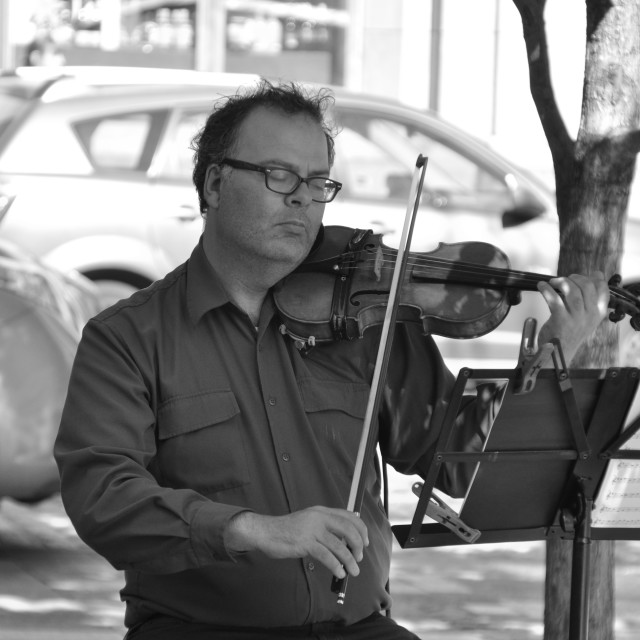 """Violinist, Montreal"" stock image"