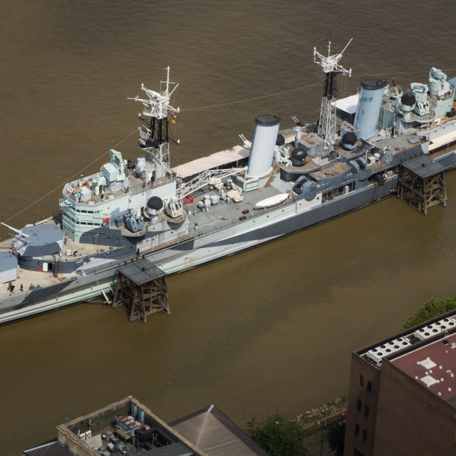 """HMS Belfast on the Thames"" stock image"