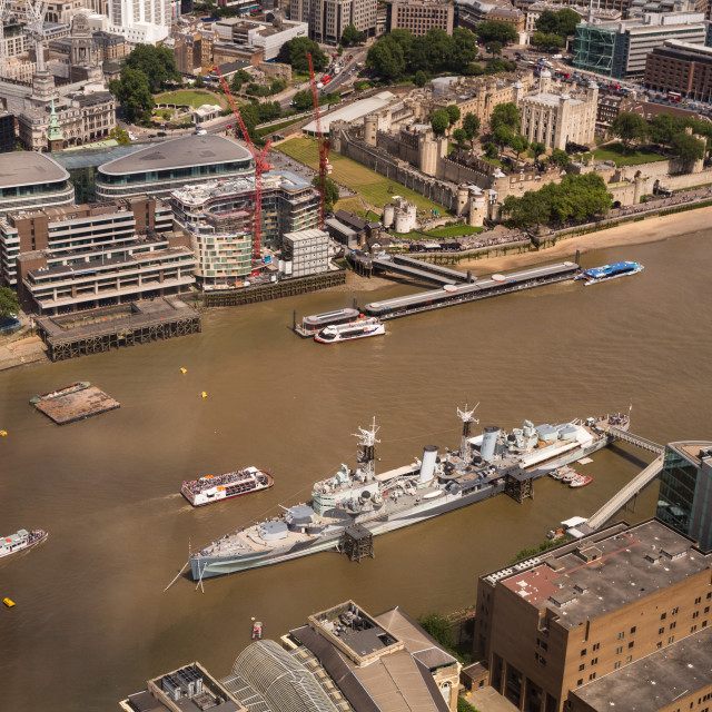 """HMS Belfast from the Shard"" stock image"