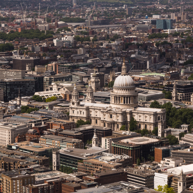 """St Paul's cathedral, London, from The Shard"" stock image"