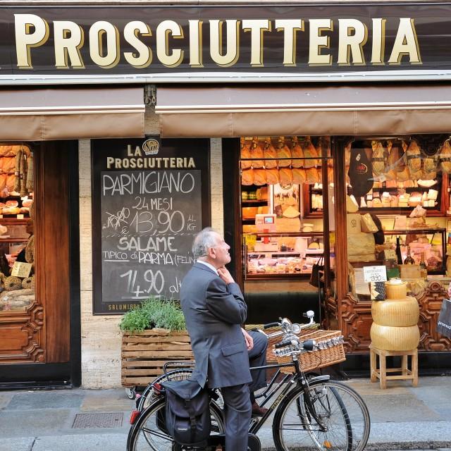 """""""La Prosciutteria, Parma"""" stock image"""