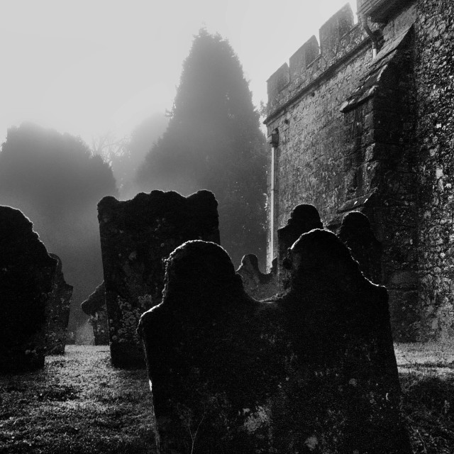"""Fog In The Churchyard"" stock image"