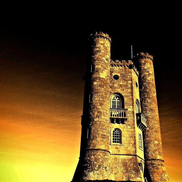"""Golden Glow (Broadway Tower)"" stock image"