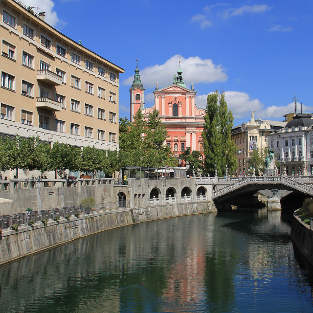 """Triple Bridge, Ljubljana"" stock image"