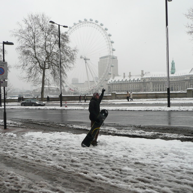 """""""Snowboarder in London"""" stock image"""