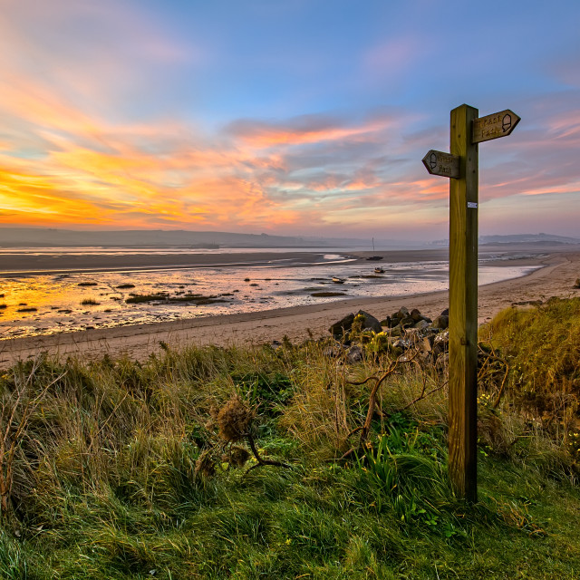 """Sign Post, Broadsands, Crow Point."" stock image"