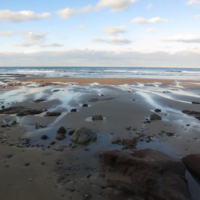 """playa de pulmarín, arenal de moris"" stock image"