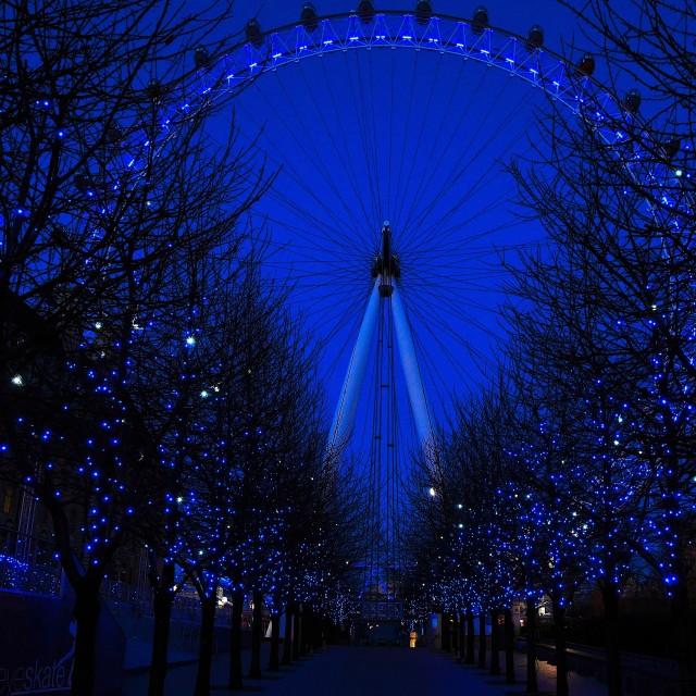 """London eye in blue"" stock image"