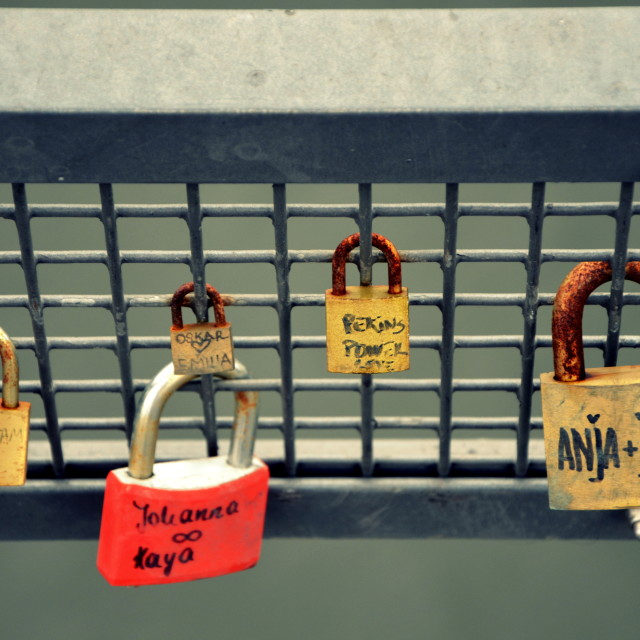"""Berlin : Love locks at Oberbaumbrücke"" stock image"