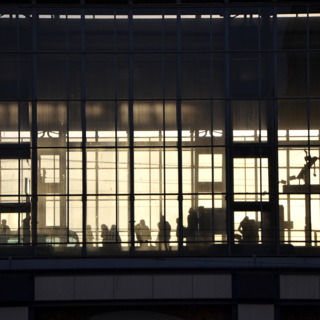 """Wait at S-bahn in Alexanderplatz"" stock image"