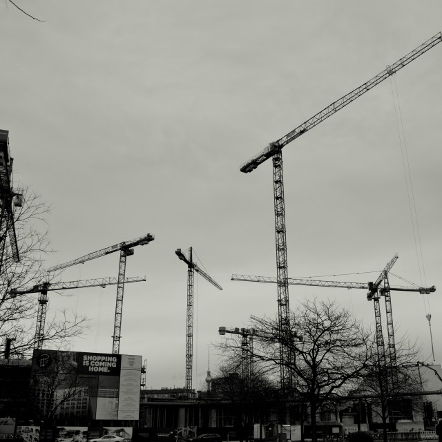 """Potsdamer Platz Cranes 1"" stock image"