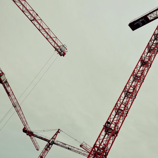 """Potsdamer Platz Cranes 2"" stock image"