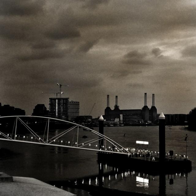 """Battersea Powerstation in black&white"" stock image"