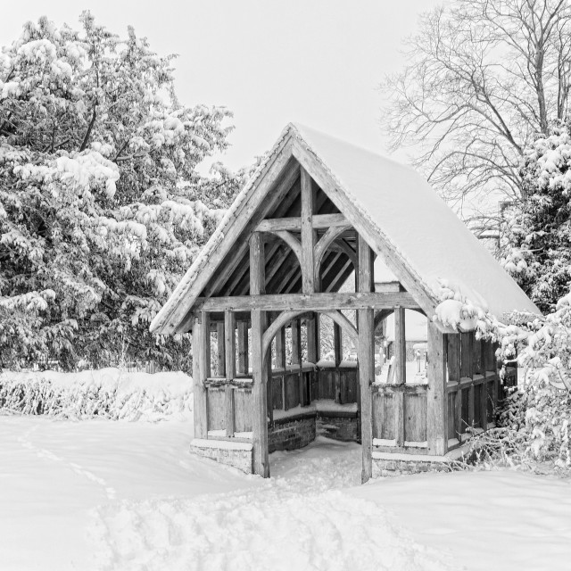 """Lychgate In The Snow"" stock image"